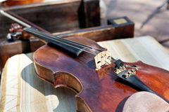 Violin and fiddle stick Royalty Free Stock Photo