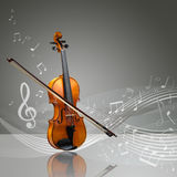 Violin and fiddle stick with musical notes. In an empty room, copy space ready Royalty Free Stock Photos