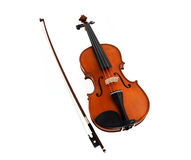 Violin with fiddlestick isolated on white Royalty Free Stock Images