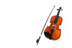 Violin with fiddlestick isolated on white Stock Image