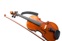 Violin with the fiddlestick isolated on white. Violin with the fiddlestick on white Royalty Free Stock Image