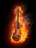 Violin in Fire Stock Photo
