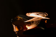 Violin on fire illustration Royalty Free Stock Images