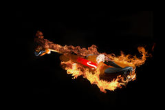 Violin on fire illustration Royalty Free Stock Photography