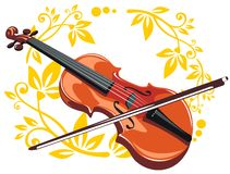Violin and floral pattern Stock Image