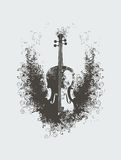 Violin with floral patterns Royalty Free Stock Photography