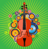 Violin flower. Violin against the backdrop of divergent rays, flowers and dynamics Royalty Free Stock Images