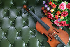 Violin and flower on luxury green leather backgrou Stock Image