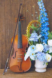 Violin and flower Stock Photography