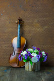 Violin and flower Royalty Free Stock Photo