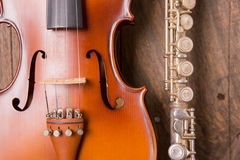 Violin and flute Stock Photography