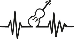 Violin with frequence. Music vector Royalty Free Stock Photography
