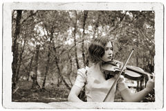 Violin Girl Antique Postcard Royalty Free Stock Image