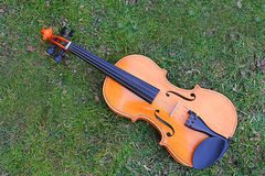 Violin on the grass. A violin on the grass Stock Photo