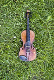 Violin on the Grass Stock Photo