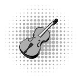 Violin grey comics icon. Musical equipment on a white background Stock Photography