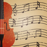 Violin. Grunge violin with key note, retro background Royalty Free Stock Photos