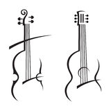 Violin and guitar. Abstract illustration of violin and guitar Stock Images