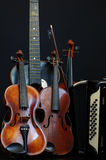 violin guitar and accordion still life 2 Royalty Free Stock Photography