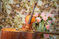 Violin,guitar,flute Stock Photos