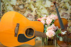 Violin,guitar,flute Stock Photography
