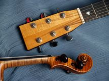 Violin & Guitar Heads Duo Royalty Free Stock Images