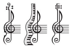 Violin, guitar, piano and treble clef Stock Photos