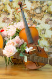 Violin,guitar, and rose Stock Image