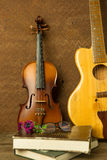 Violin and guitar in vintage style Stock Image