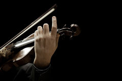 The violin in the hands of a musician closeup Stock Photos