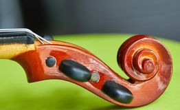 Violin head on green background royalty free stock photography