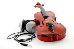 Violin and headphones Royalty Free Stock Images