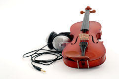 Violin and headphones Royalty Free Stock Photography