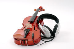 Violin and headphones Royalty Free Stock Photo