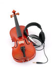 Violin and headphones Stock Image