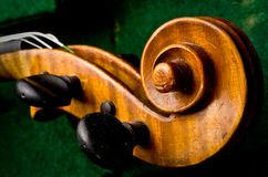 Violin headstock in case Stock Photos