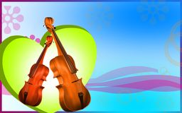 Violin  and heart  background Royalty Free Stock Photos
