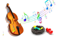 Violin with heart Royalty Free Stock Photography
