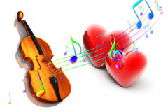 Violin with heart Royalty Free Stock Photos