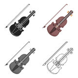 Violin icon in cartoon style  on white background. Musical instruments symbol stock vector illustration Royalty Free Stock Image