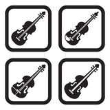Violin icon in four variations.  Royalty Free Stock Photos