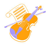 Violin  icon and music books 2. Violin  icon and music books Stock Image