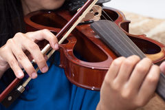 Playing the violin, musical instrument with performer hands. Violin instrument played by musician Royalty Free Stock Image