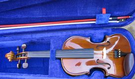 Violin in its case Royalty Free Stock Photo