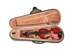 Violin in its case on white Royalty Free Stock Photography