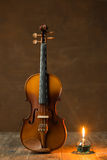 Violin with lantern Royalty Free Stock Photos