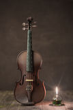 Violin with lantern Stock Photos