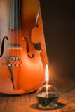 Violin with lantern Stock Photo