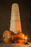 Violin with lantern Royalty Free Stock Photography