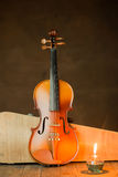 Violin with lantern Royalty Free Stock Image
